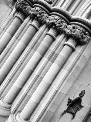 Black and White Image of gothic style pillars