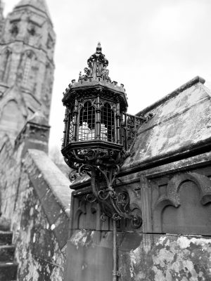 Black and White Image of gothic style exterior light