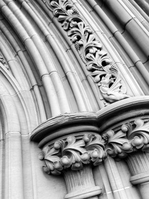 Black and White Image of gothic style arch